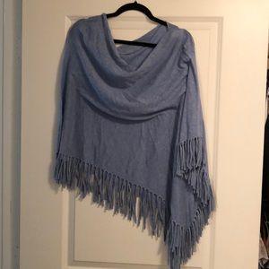 Blue fringe poncho